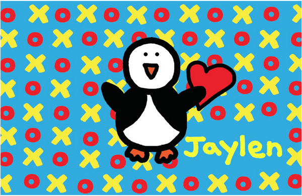 XO Cyan with Penguin Placemat - frecklebox