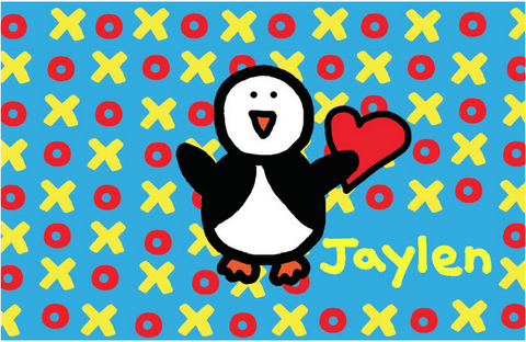 XO Cyan with Penguin Placemat