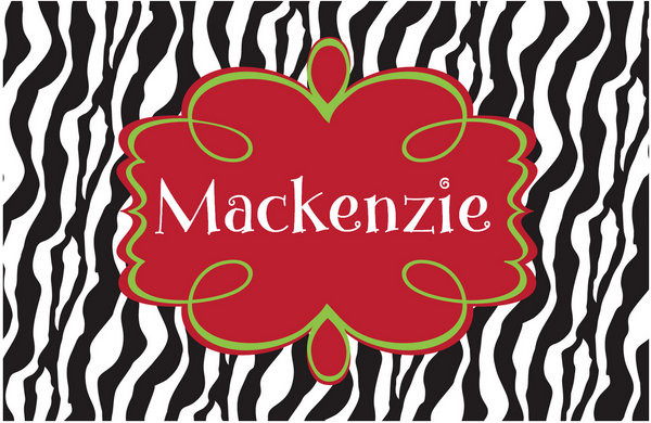 Zebra Holiday Placemat - frecklebox
