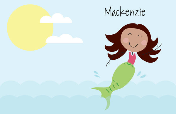 Brown Hair Mermaid Placemat - frecklebox