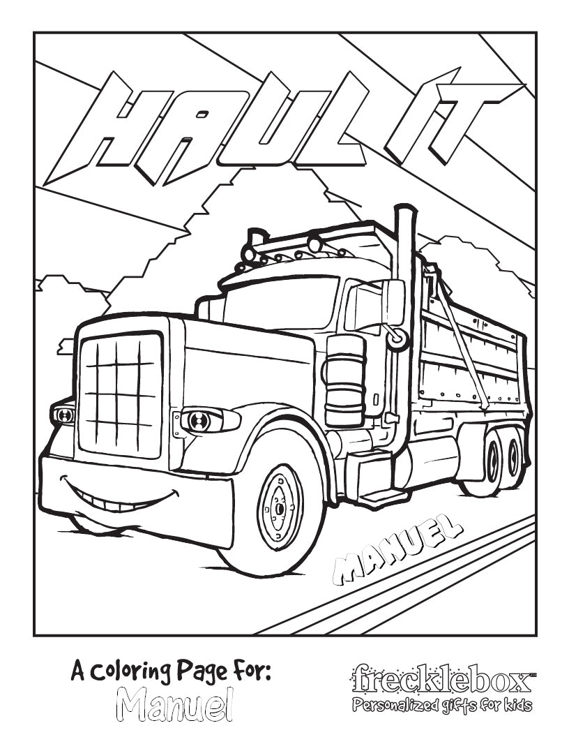 Haul It Coloring Page - frecklebox