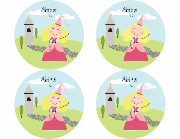 Blonde Hair Princess Personalized Stickers - frecklebox