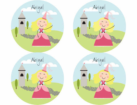 Blonde Hair Princess Personalized Stickers