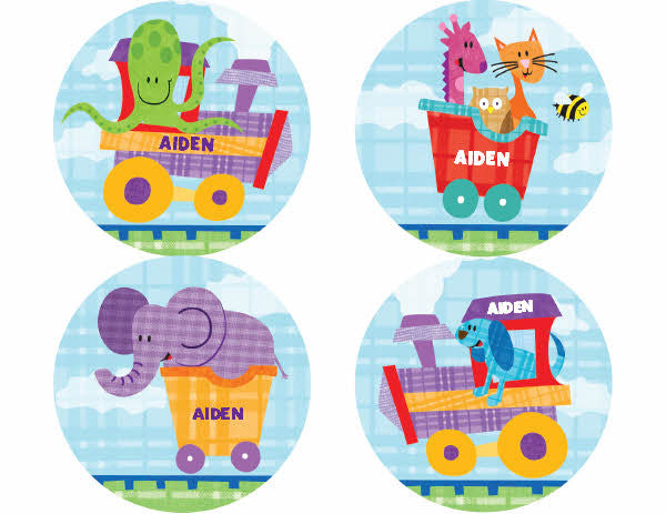 Alphabet Train Personalized Stickers - frecklebox