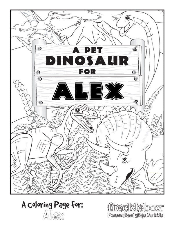 My Pet Dino Coloring Page - frecklebox