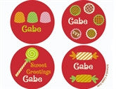 Candy Red Personalized Stickers - frecklebox