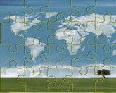 World in Clouds Puzzle - frecklebox