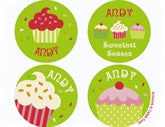 Cupcake Green Personalized Stickers - frecklebox