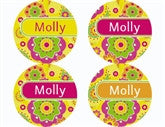 Fancy Flowers Personalized Stickers - frecklebox