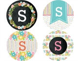 Floral Monogram Personalized Stickers - frecklebox