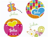 Hearts and Flowers Personalized Stickers - frecklebox