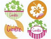 Hula Girl Personalized Stickers - frecklebox