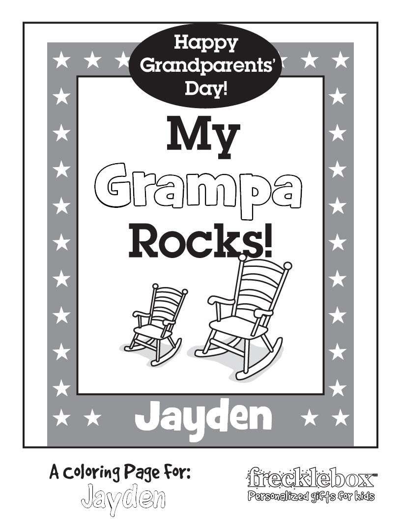 My grandpa rocks personalized coloring page for kids
