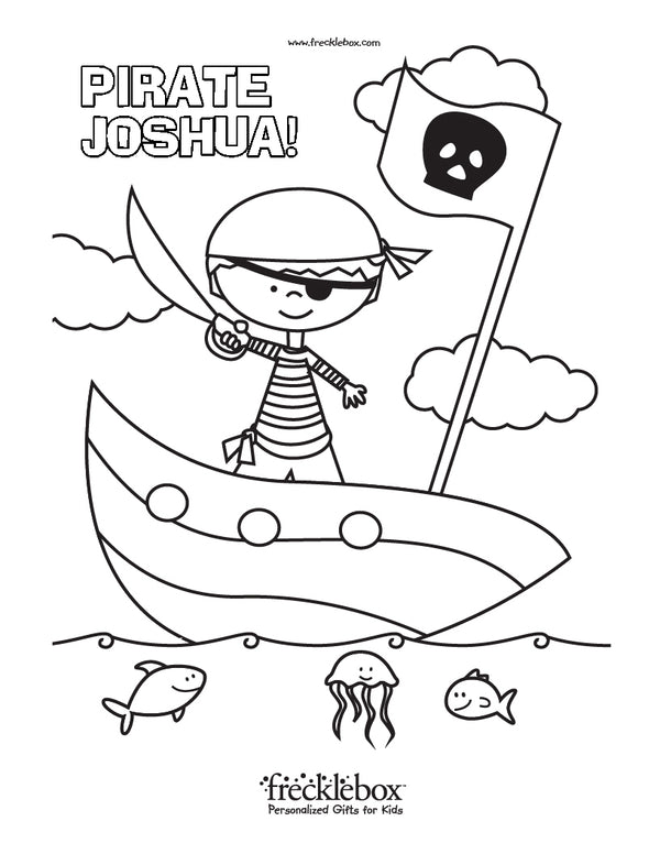 pirate personalized coloring page for kids