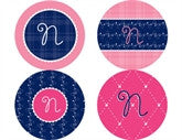 Quilted Monogram Personalized Stickers - frecklebox