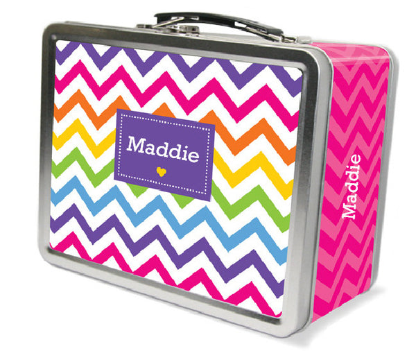 Rainbow Chevron Personalized Lunch Box - frecklebox