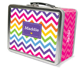 Rainbow Chevron Personalized Lunch Box