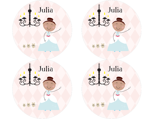 Brown Hair Glam Princess Personalized Stickers - frecklebox