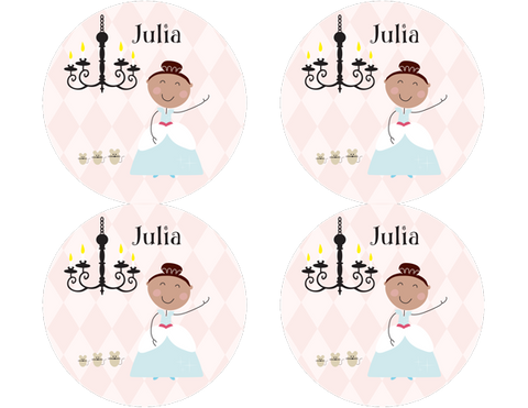 Brown Hair Glam Princess Personalized Stickers