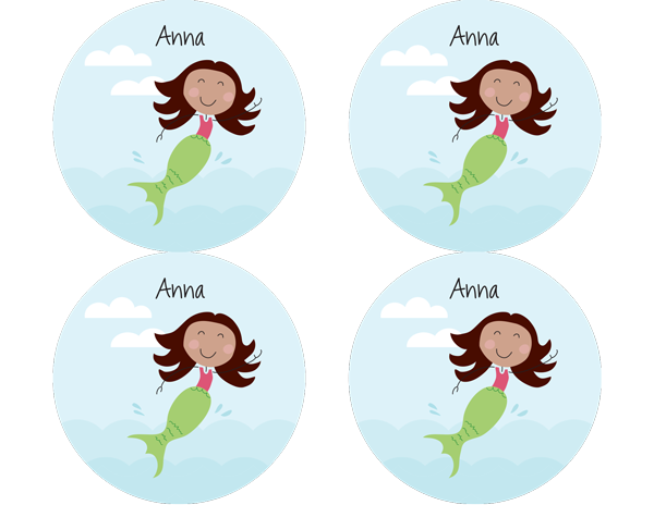 Brown Hair Mermaid Personalized Stickers - frecklebox