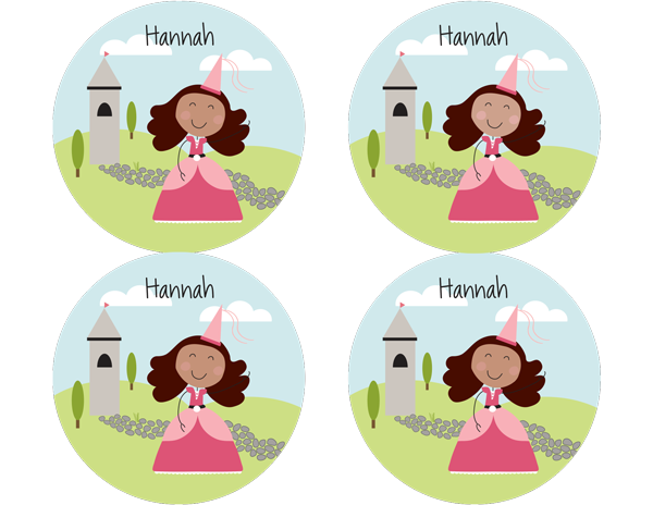 Brown Hair Princess Personalized Stickers - frecklebox