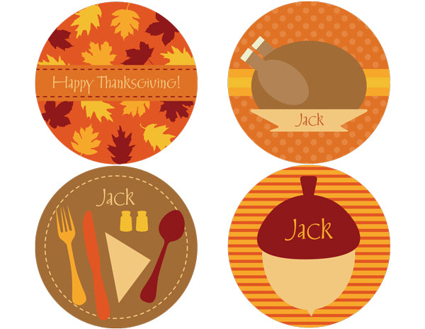 Thanksgiving Dinner Personalized Stickers - frecklebox