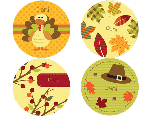 Turkey Day Personalized Stickers - frecklebox