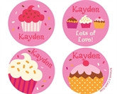 Valentines Cupcake Sprinkles Personalized Stickers - frecklebox