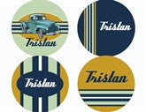 Vintage Truck Personalized Stickers - frecklebox