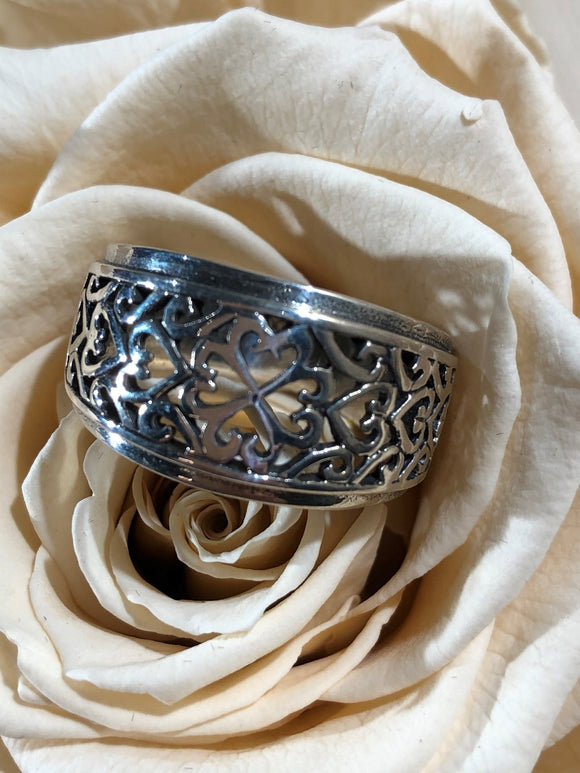 Filigree Band 925 Sterling Silver Ring Size 9