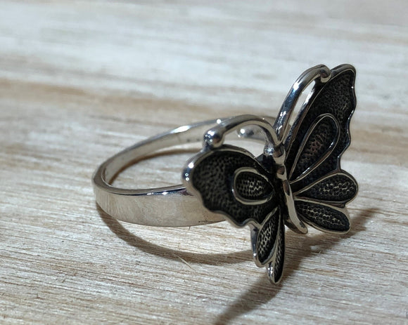 Butterfly 925 Sterling Silver Ring Size 7
