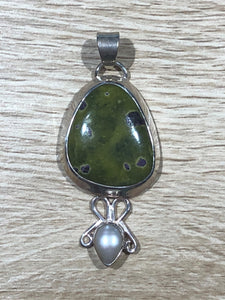 Stitchtite & Pearl 925 Sterling Silver Pendant 48mm
