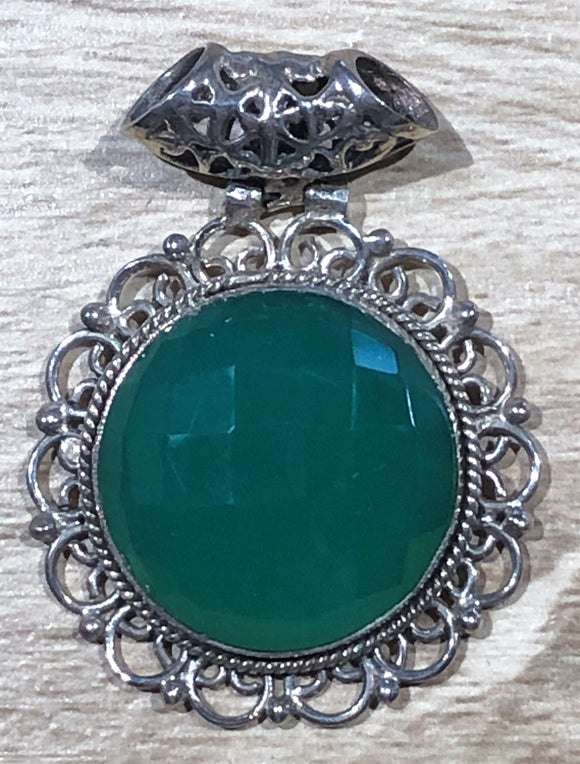 Green Chalcedony 925 Sterling Silver Pendant 35mm