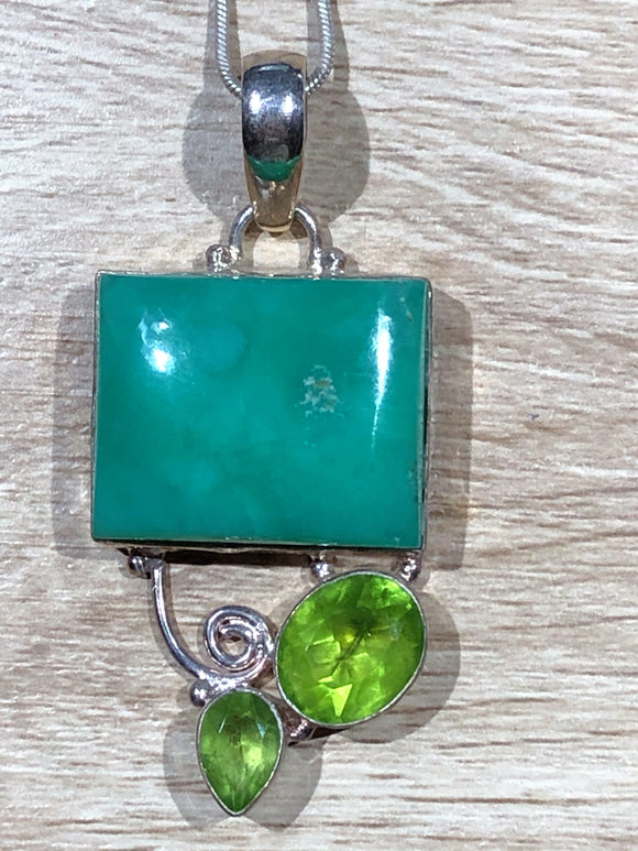 Chrysophase & Peridot 925 Sterling Silver Pendant 60mm