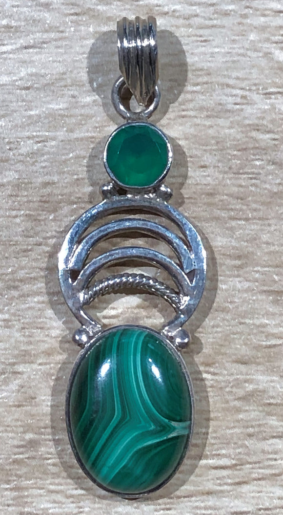 Malachite & Green Chalcedony 925 Sterling Silver Pendant 47mm