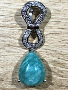 Amazonite & White Topaz 925 Sterling Silver Pendant 40mm