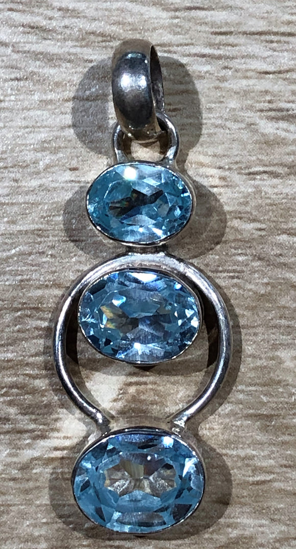 Blue Topaz 925 Sterling Silver Pendant 40mm