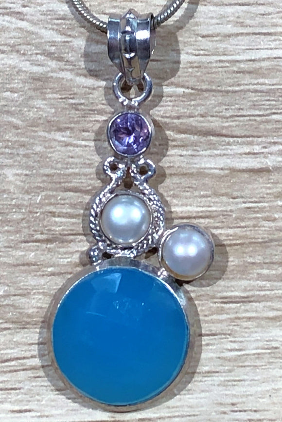 Chalcedony, Pearl & Amethyst 925 Sterling Silver Pendant 45mm