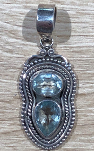 Blue Topaz 925 Sterling Silver Pendant 41mm