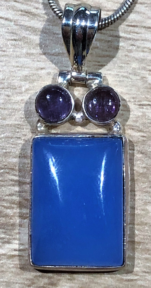 Chalcedony & Amethyst 925 Sterling Silver Pendant 36mm