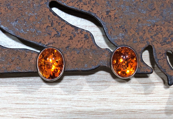 Amber 925 Sterling Silver Earring Studs