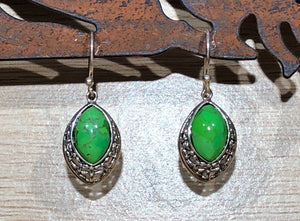 Green Copper Turquoise 925 Sterling Silver Earrings