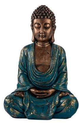 Peaceful Turquoise and Gold Buddha 30cm