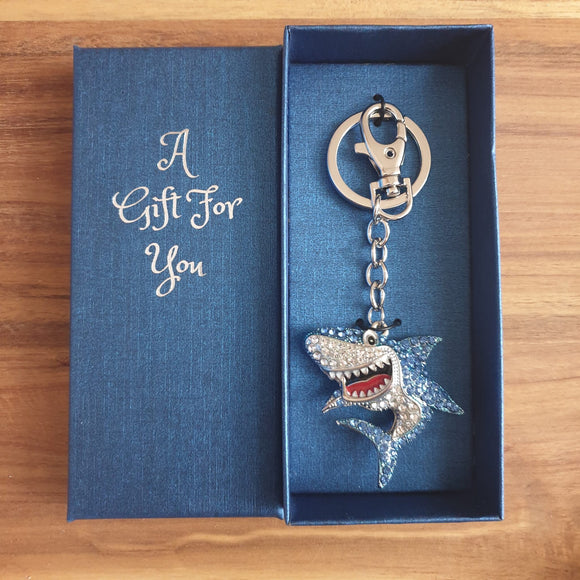 Smiling Shark Key Ring / Bag Ring 6 x 14cm