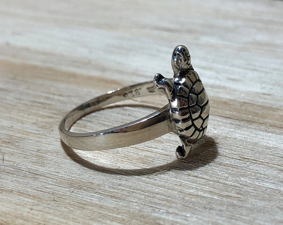 Turtle 925 Sterling Silver Ring Size 9