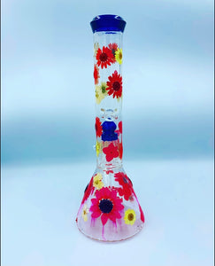 "12.5"" pink/white glass floral water pipe"