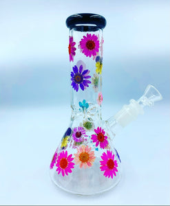 "8"" multi color floral glass water pipe"
