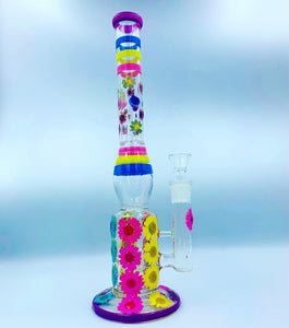 "14.5"" colorful floral glass water pipe"