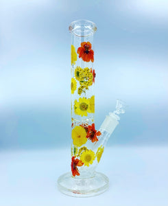 "12"" yellow/orange flower glass water pipe"