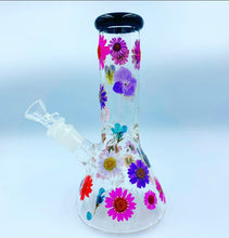 "Load image into Gallery viewer, 8"" multi color floral glass water pipe"